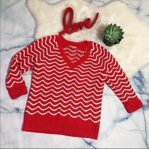 Gap Red And White Chevy Print Sweater